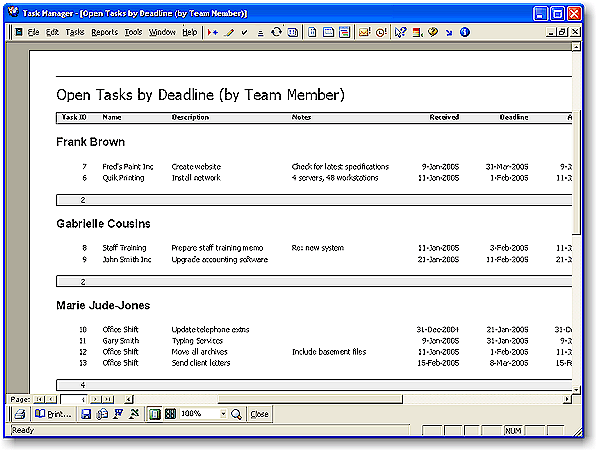 Task Manager 2012 Team Task Management Software - Report